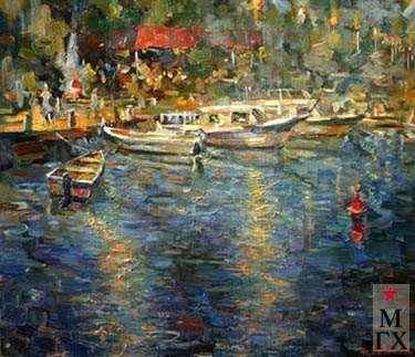 А.С. Лысенко.  Вечером в бухте. 2006. Х.М. 60х70.