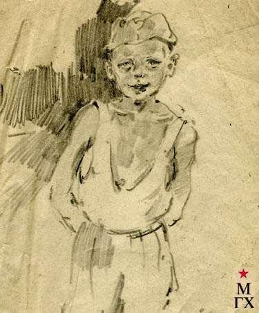 С.Ф. Шурпин. Мальчик (набросок). 1949. Бум.Кар.